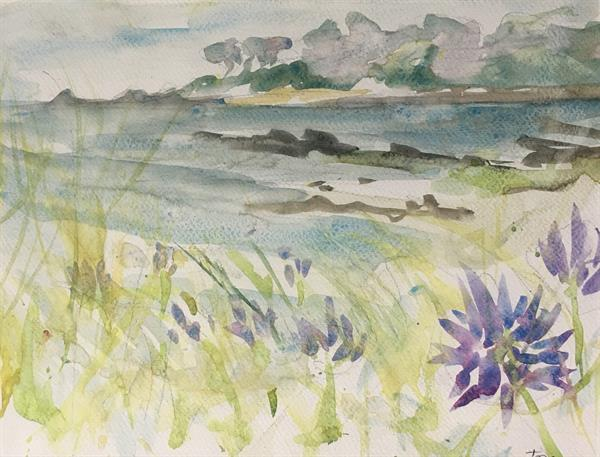 Feza Erkeller paintings - Agapanthus in the Wild