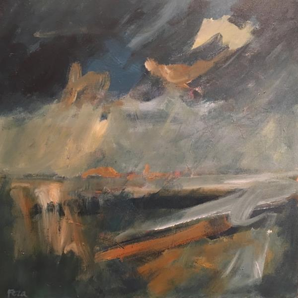 Feza Erkeller paintings - Weather coming in, Cape Cornwall