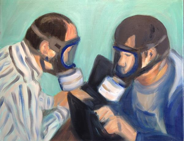 Feza Erkeller paintings - Two Journalists at work