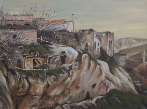 Feza Erkeller paintings - Cappadocia, Fairy Chimney 2 Heads, Cavusin