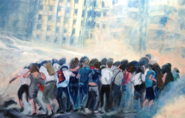 Feza Erkeller paintings - People, Inclined