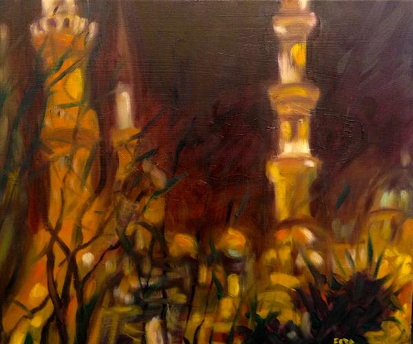 feza Erkeller paintings - Blue Mosque at Night