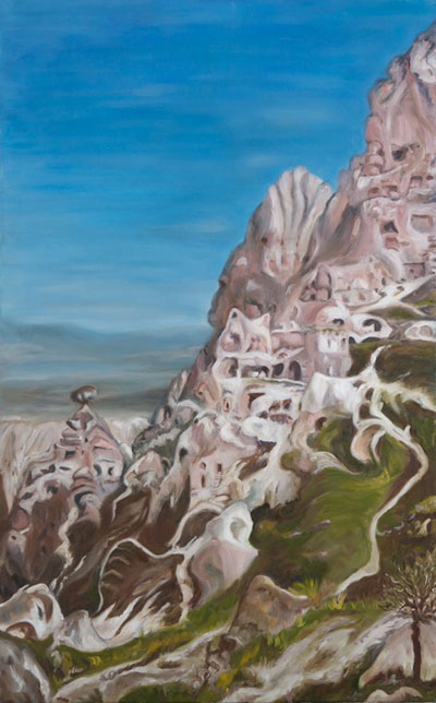 Feza Erkeller paintings - Cappadocia, The Edge, Uchisar