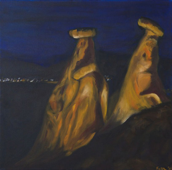 Feza Erkeller paintings - Cappadocia, Fairy Chimneys at Night, Goreme