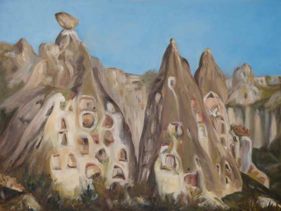 Feza Erkeller paintings - Cappadocia, Fairy Chimneys, Uchisar
